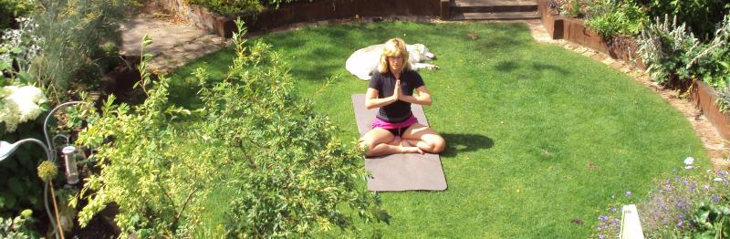 image showing Bec in meditation pose